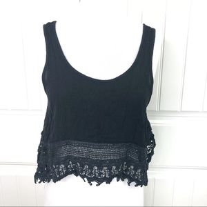Tobi Cotton Candy Black Tank Crop Top Crochet Hem